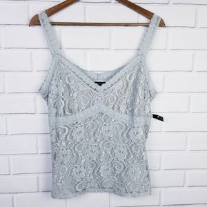 NWT Valerie Steven's Gray Lacy Tank Top XL